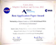 "Towards entry ""18.06.2015: Best Application Paper Award NASA/ESA Conference on Adaptive Hardware and Systems (AHS 2015)"""