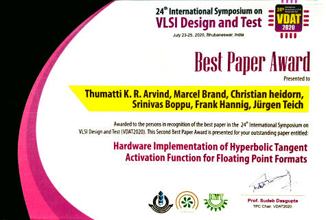 Certificate of a Best Paper Award